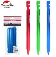 Naturehike 18CM/25cm Camping Tent Pegs Nail Accessory Aluminum Alloy Outdoor Beach Mitsubishi V-shaped Nail Stake