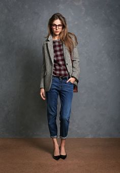 Like this concept (tweed jacket, plaid shirt, nice slacks) just not sure I like this particular version.