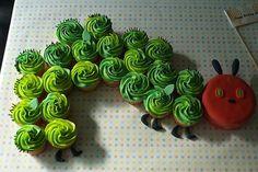 The Very Hungry Caterpillar cupcake cake.