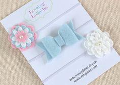Felt Flower Headband or Hair Clips Set of 3 by LullabyBlossoms