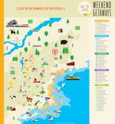52 Weekend Getaways in New England | Boston Magazine Interactive Map