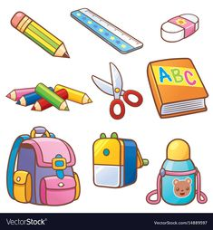 back to school illustration Printable Stickers, Cute Stickers, Classroom Charts, Quiet Book Templates, Flashcards For Kids, School Sets, Drawing For Kids, Kids Education, Preschool Activities