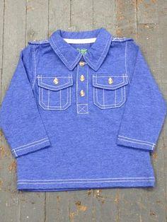 Kapital K Boys Jersey Polo Style Long Sleeve Collared Blue Shirt