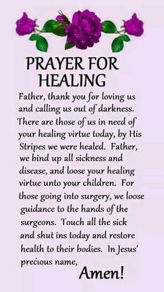 Read these powerful prayers for healing and better health. From cancer to depression, find prayers and read the prayers of others. Healing Scriptures, Prayer Scriptures, Bible Prayers, Faith Prayer, God Prayer, Night Prayer, Prayer For Healing The Sick, Prayer For The Day, Prayer For Family