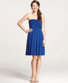 Jersey Shirred Strapless Bridesmaid Dress