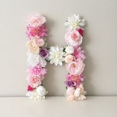 Large Floral Letter 19 24 Flower Letter Baby by BegoniaRoseCo