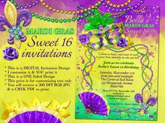 Marvelous Masquerade Invitations by Bella LuElla  Find more Masquerade Invitations here: https://www.etsy.com/shop/BellaLuElla?section_id=13379632  ~~~This is a digital file~~~ I customize it~~~You print it! ~High resolution ~ 300 DPI digital file with customized text to fit your event~