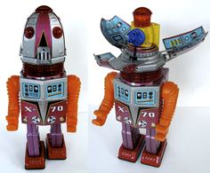 """The X-70 robot is also known as """"Tulip Head"""" because his head (left) would open up like a flower (right)."""