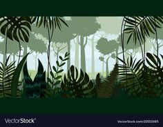 Illustration about Vector tropical rainforest Jungle landscape background with leaves, fern,. Illustration of abstract, environment, leaf - 113708786 Silhouette Painting, Animal Silhouette, Free Vector Graphics, Free Vector Art, Jungle Landscape, Jungle Illustration, Jungle Art, Jungle Animals, Graffiti
