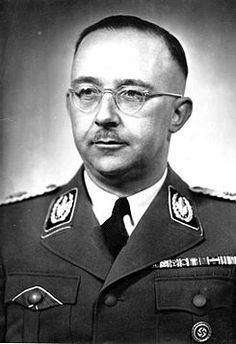 Never again. Architect of evil, SS Reichsführer Heirich Himmler was second only to Hitler, and most directly responsible for the Holocaust. On Hitler's orders, he set up, built and ran the extermination camps, thereby directly responsible for the extermination of 6m Jews, 500K Romani, and 11-14m mostly Polish & Soviet citizens as well as other nationalities.(km)  Photo Bundesarchiv Bild 183-S72707, Heinrich Himmler.jpg