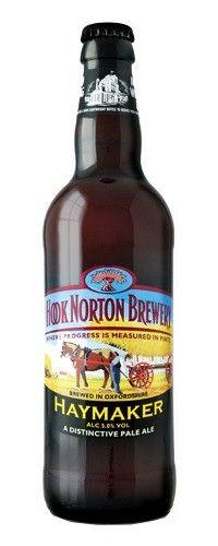Cerveja Hook Norton Haymaker, estilo Extra Special Bitter/English Pale Ale, produzida por Hook Norton Brewery, Inglaterra. 5% ABV de álcool.