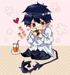Omg adorable, chibi Rin stuffing his face with a cookie and juice! | Ao no Exorcist