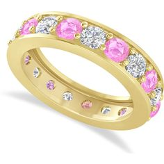 Allurez Diamond & Pink Sapphire Eternity Wedding Band 14k Yellow Gold... (4324795 IQD) ❤ liked on Polyvore featuring jewelry, rings, yellow gold diamond rings, gold band wedding rings, pink sapphire diamond ring, yellow gold wedding rings and 14k diamond ring