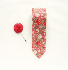 Pink floral tie wedding tie gift for men wedding boutonniere pink flower lapel pin groomsmen uk by TheStyleHubTrends on Etsy