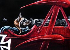 Original ACEO Scratchboard Art RED BARON Dog Doberman Animal Airplane Flying Ace #Miniature