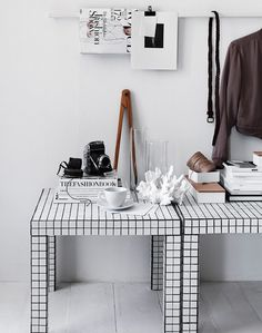 Love this DIY subway tile table hack.