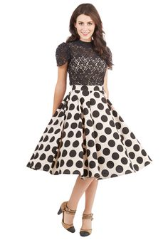 Retro Revolution Skirt. With every wear of this this marvelous polka-dotted A-line, you find yourself twirling and turning more and more. #cream #modcloth $70