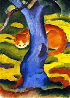 """Expressionismus in Deutschland. Franz marc, Childrens picture """"Cat behind a Tree"""" Franz Marc, Wassily Kandinsky, Blue Rider, Expressionist Artists, Oil Painting Reproductions, Art Abstrait, Cat Art, Modern Art, Fine Art"""