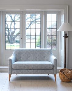 Norbury low back sofa looking stunning in Zoffanys Diamond and flowers fabric. Wesley-Barrell