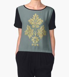 FLORAL GOLD by Prescott Casual Wear Women, Chiffon Tops, Tunic Tops, Hoodies, Lady, Floral, Gold, How To Wear, Stuff To Buy