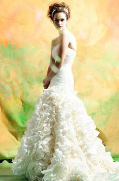 white long wedding dress with roses