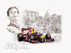 Legendary drivers to Monaco. Mark Webber, Caricatures, Monaco Grand Prix, Vintage Race Car, Car Drawings, Automotive Art, Sports Art, Car Painting, Courses