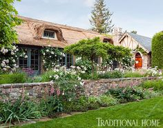 Incredible attention to old world detail in this quaint California property, including a thatched roof and European inspired gardens. Beautiful Gardens, Beautiful Homes, Traditional Home Magazine, European Garden, Tudor Style Homes, Tudor House, Thatched Roof, Backyard, Patio