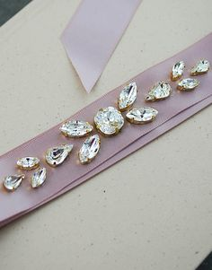 Hand beaded Swarovski Crystals Bridal Sash by EarringsNation