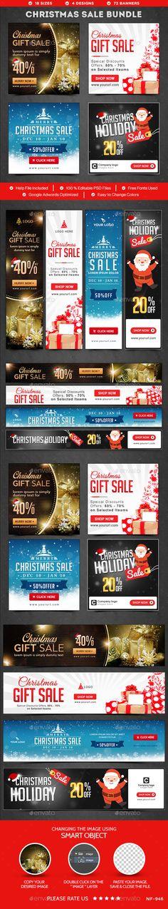 Christmas Sale Web Banners Bundle - 4 Sets Templates PSD #design Download: http://graphicriver.net/item/christmas-sale-banners-bundle-4-sets/14196546?ref=ksioks