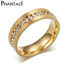 Gold Color Crystal Wedding Rings For Women Stainless Steel Great Wall Design Imitation Women Party Rings Jewelry #Affiliate