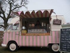 Me ~my VW ice~cream camper & my new vintage suitcase sign♡ vintage ice cream van hire & wedding hire ♡ http://www.pollys-parlour.co.uk/