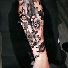 Jigsaw - Black & Grey Realism Arm Tattoo -Tiger Jigsaw - Black & Grey Realism Arm Tattoo - Tatuagem de anjos e Jesus Cristo em realismo colorido criada pelo incrível artista americano Brent Olson (brentolson_aj). Tattoos ✔ Tattoo H. Backpiece Tattoo, Mädchen Tattoo, Tiger Tattoo, Back Tattoo, Arm Band Tattoo, Lion Arm Tattoo, Full Hand Tattoo, Gold Tattoo, Dope Tattoos