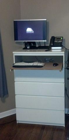 Malm Desk Ikea Dresser, Dressers, Ikea Standing Desk, Ikea Malm, Best Ikea, Flat Screen, Woodworking, Furniture, Diy