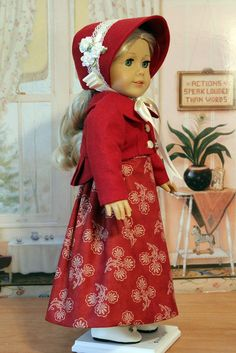 Regency Dress and  Spencer Jacket with Bonnet by BabiesArtUs on Etsy, $115.00