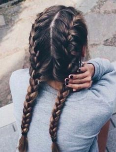 Wish my hair was long enough to try this hairdo. Two long braids.