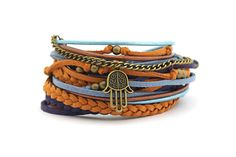 Mustard Denim Navy Yoga Wrap Bracelet Hamsa Hand by cardioceras