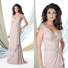 Free Shipping!!! CY1123 Vintage Cap sleeves Beaded Chiffon mother of the bride beach wedding dress
