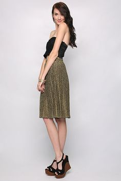 Gold Shimmer Pleated Skirt