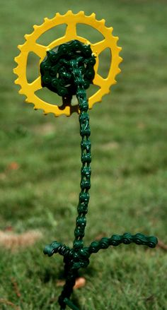 Bicycle Chain and Sprocket Flower yellow by reCycles on Etsy, $15.00