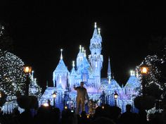 Sleeping Beauty's Castle at Disneyland during the holidays