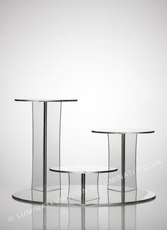Clear Acrylic Cake Stand.  Beautiful photograph of the Mushroom 3 Position Display Stand from Crystal Clear. www.cake-stands.co.uk