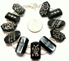 1800s BUTTON bracelet Victorian black glass with silver