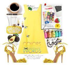 """Smooth yellow"" by carleen1978 ❤ liked on Polyvore featuring Marni, Aquazzura, Polaroid, Oscar de la Renta and Parker"