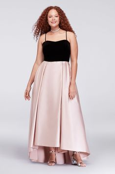 6f04e37ea691 This mixed-texture plus-size ball gown features a velvet bodice and  lustrous, subtly high-low mikado skirt. Side pockets hold your phone and  lipstick for ...