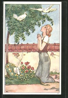 Alte Ansichtskarte: Künstler-AK Aschenputtel am Muttergrab