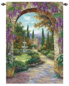 Beautiful Garden Paintings | This garden scene tapestry wall hanging is called Paradise Fountain ...