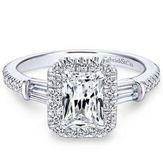 "Gabriel ""Raveena"" 14K White Gold Emerald Cut Diamond Three Stone Engagement Ring Featuring 0.60 Carats Baguette & Round Cut Diamonds. Style ER7268K44JJ"
