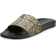 b49df5ec2c155 Versace Men s Baroque Tile Signature Slide Sandal ( 395) ❤ liked on Polyvore  featuring men s fashion