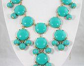 HOT SALE Turquoise Bubble Necklace,Handmade Bib Necklace,Statement Necklace-BN0065. $16.00, via Etsy.