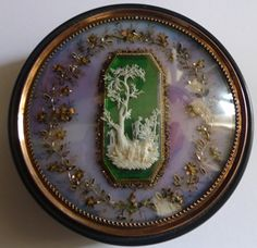stock number 4754   Antique French tortoiseshell, gold and ivoy snuff box.